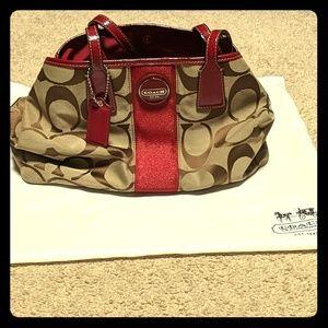 Coach Red Stripe Signature C Handbag